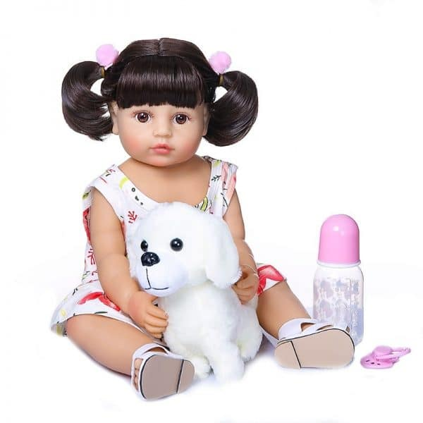 bébé reborn fille yeux ouverts avec accessoires