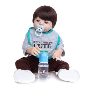 bébé reborn garçon en silicone pas cher avec accessoires